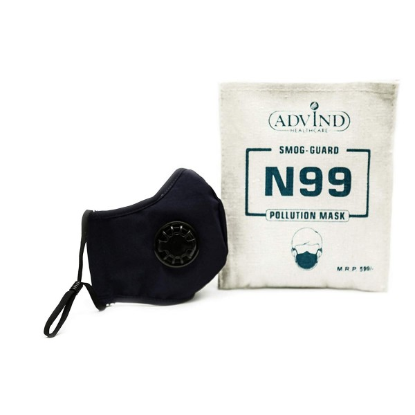 N99 Grade Anti Pollution Face Mask, Washable, with 2 Valves (Blue - Medium)