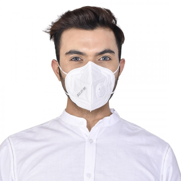 KN95 Mask With Valve (Adults Free Size) - White