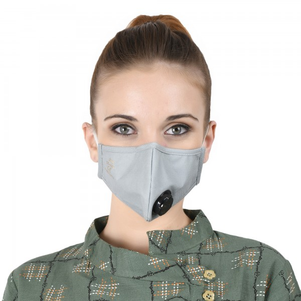 Smog Guard N95 Mask With One Valve (Adults Free Size, Grey)