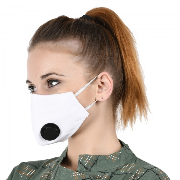 Smog Guard N95 Mask With One Black Valve (Adults Free Size, White)