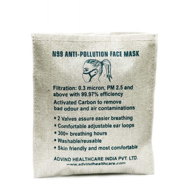 N99 Grade Anti Pollution Face Mask, Washable, with 2 Valves (Black - Medium)