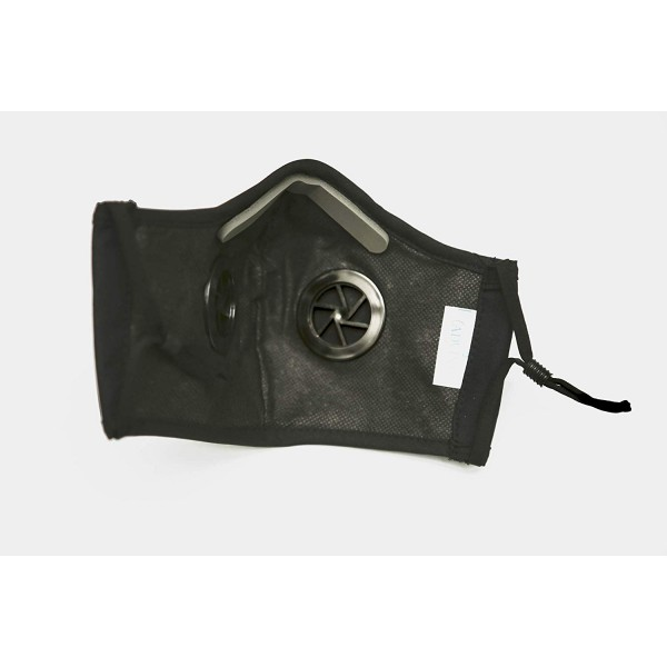 N99 Grade Anti Pollution Face Mask, Washable, with 2 Valves (Black - Large)